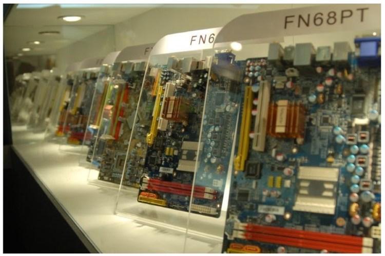 motherboards in display cases - gigabyte fn68pt
