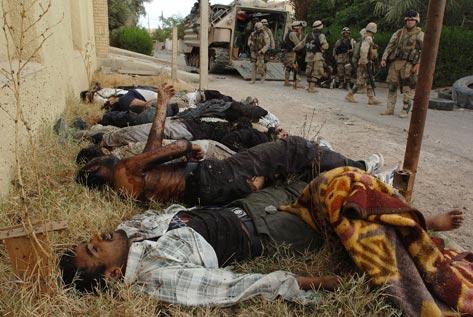 Dead civilians in Fallujah, Iraq; victims of US attack