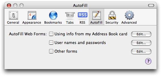 Screen shot of Apple Safari AutoFill dialog