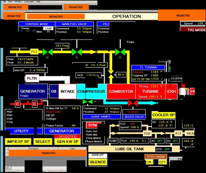 This image depicts a reconstructed screenshot of a Human Machine Interface (HMI) system that was accessed by the threat actor. This image demonstrates the threat actor's focus and interest in Industrial Control System (ICS) environments.
