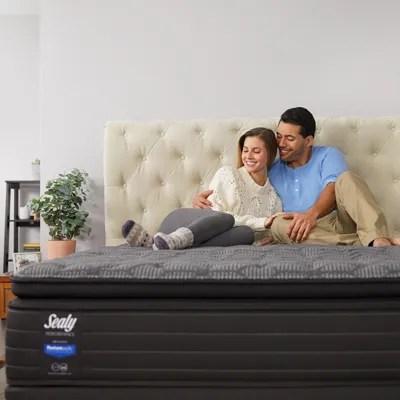 queen sealy response performance elm avenue cushion firm pillow top 13 5 inch mattress