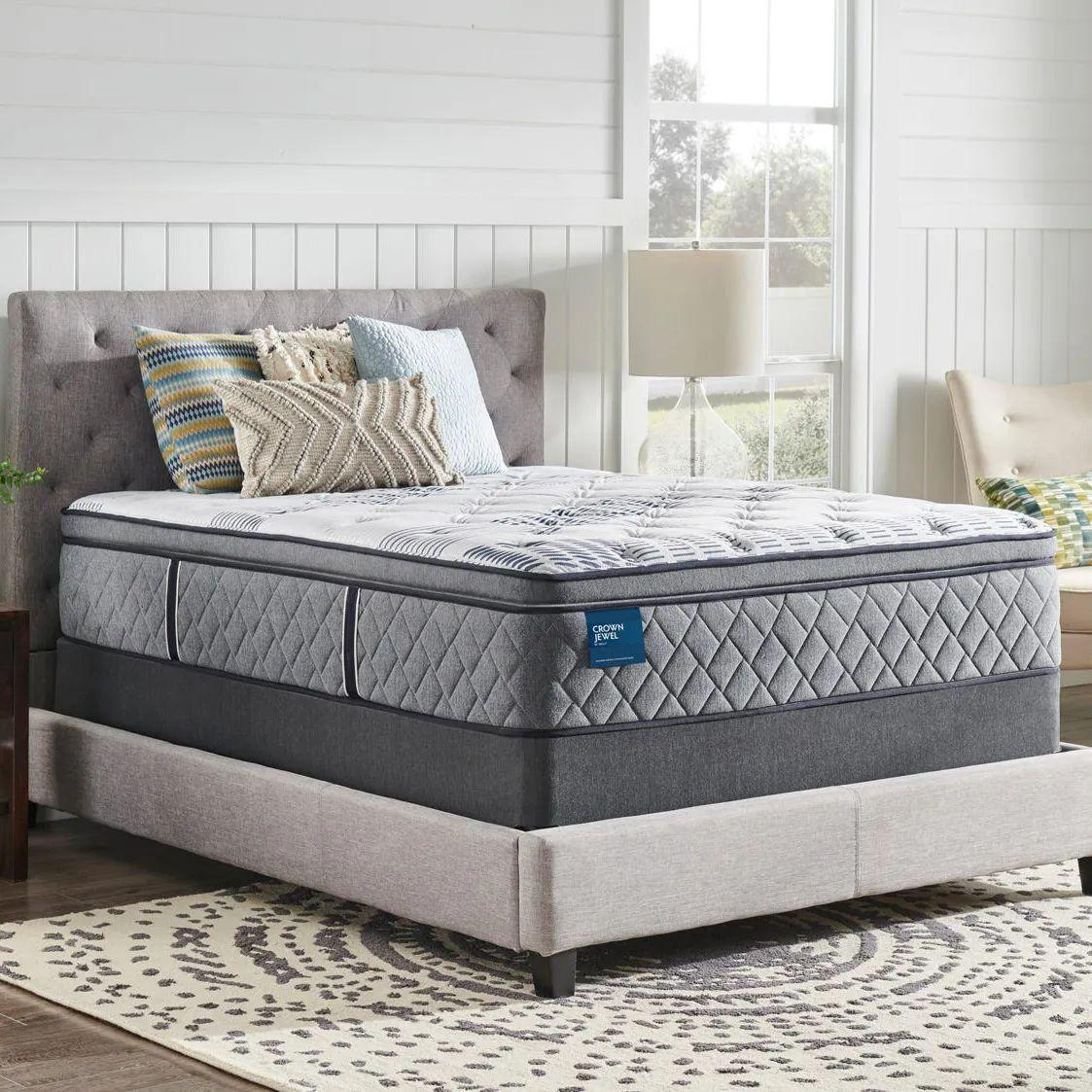 queen sealy crown jewel performance roseway plush pillow top 15 inch mattress