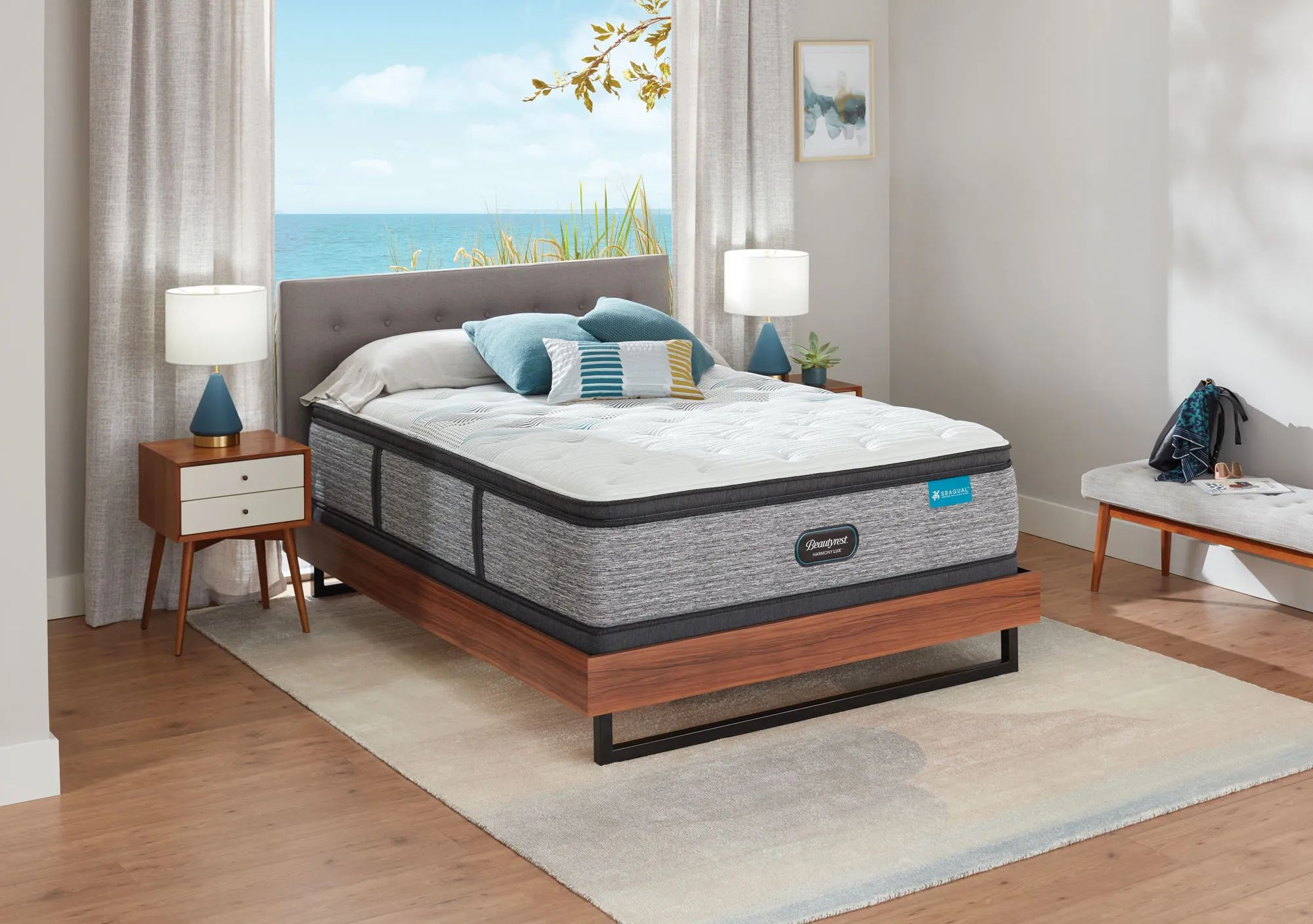 queen simmons beautyrest harmony lux hlc 1000 plush pillow top 15 75 inch mattress