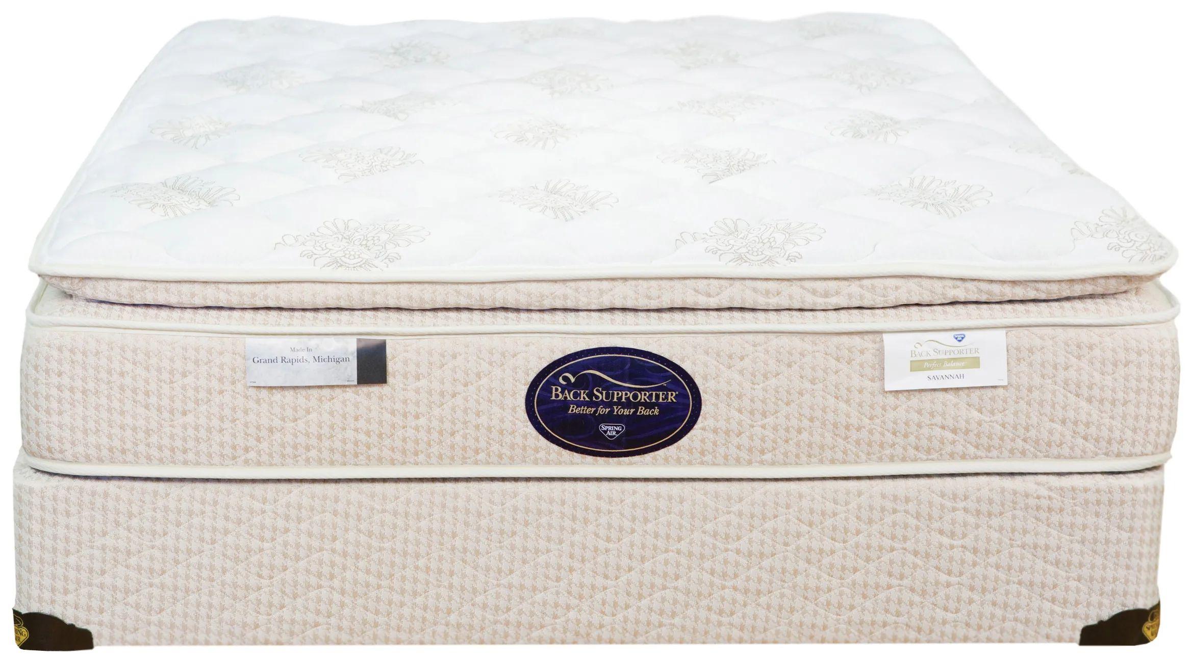 queen spring air back supporter perfect balance savannah pillow top 12 5 inch mattress