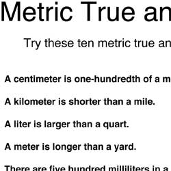 Metric puzzles and quizzes
