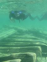 Diver investigating hull timbers