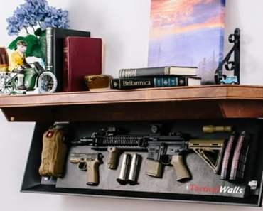 Concealed gun safe in a shelf