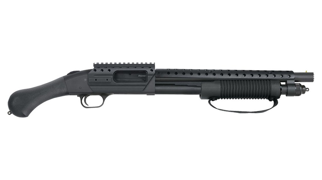 Mossberg 590 Shockwave SPX. The sawn off tactical shotgun with a bird's head grip that somehow skirts the NFA regs.