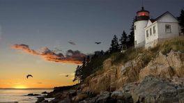 Leuchtturm an der Küste von Bar Harbor, Maine