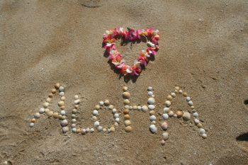 Aloha in den Sand geschrieben.