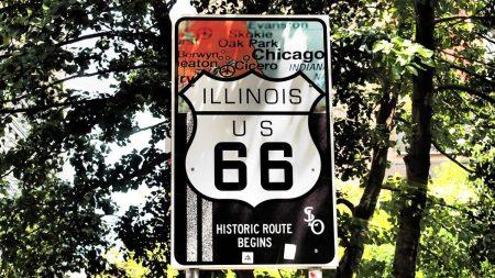 Der Beginn der Route 66 in Chicago, Illinois