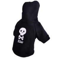 Black Skull Pet Dog Hoodie Clothing Coat Small Puppy Cat ...