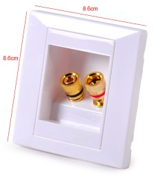 details about white audio speaker jack wall plate panel 2 binding post for banana plug 86x86mm [ 1110 x 1110 Pixel ]