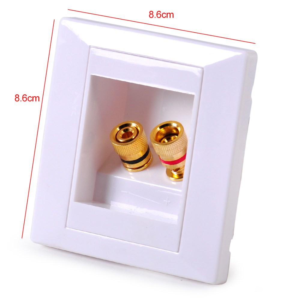 medium resolution of details about white audio speaker jack wall plate panel 2 binding post for banana plug 86x86mm