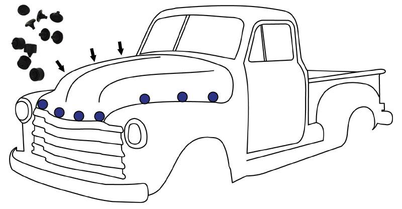 1947-55 Chevy & GMC Truck Rubber Hood Bumper 10 pc Kit