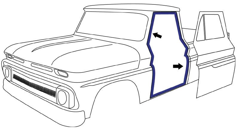 1960-66 Chevy & GMC Truck Door Weatherstrip on Cab, Pair