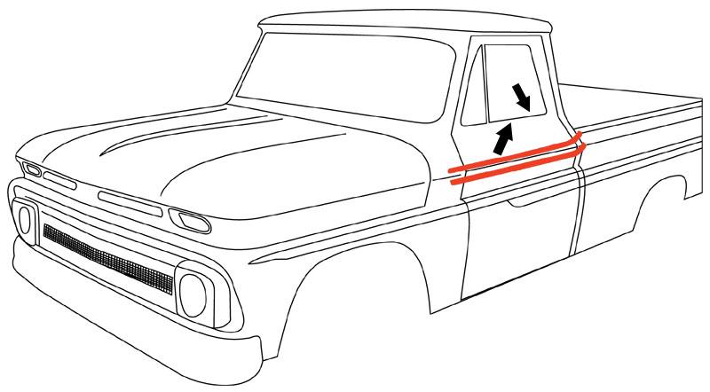 1964-66 Chevy Truck & GMC Beltline Window Felts w/Black