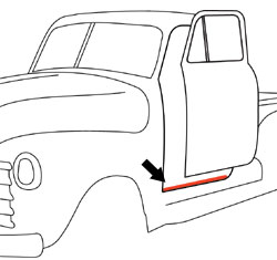 1947-48 Chevy & GMC Truck Lower Windlace Door Seal on Cab