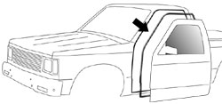 1982-93 Chevy S10 & GMC Sonoma Pickup Door Weatherstrip on