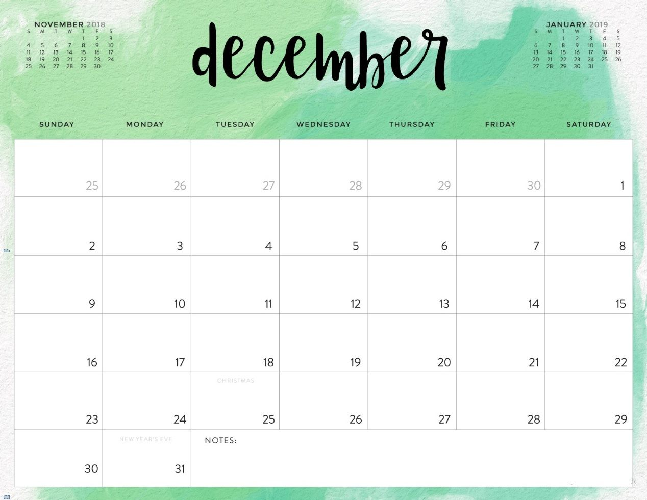 Free December 2019 Calendar Word PDF Doc Excel Notes ...