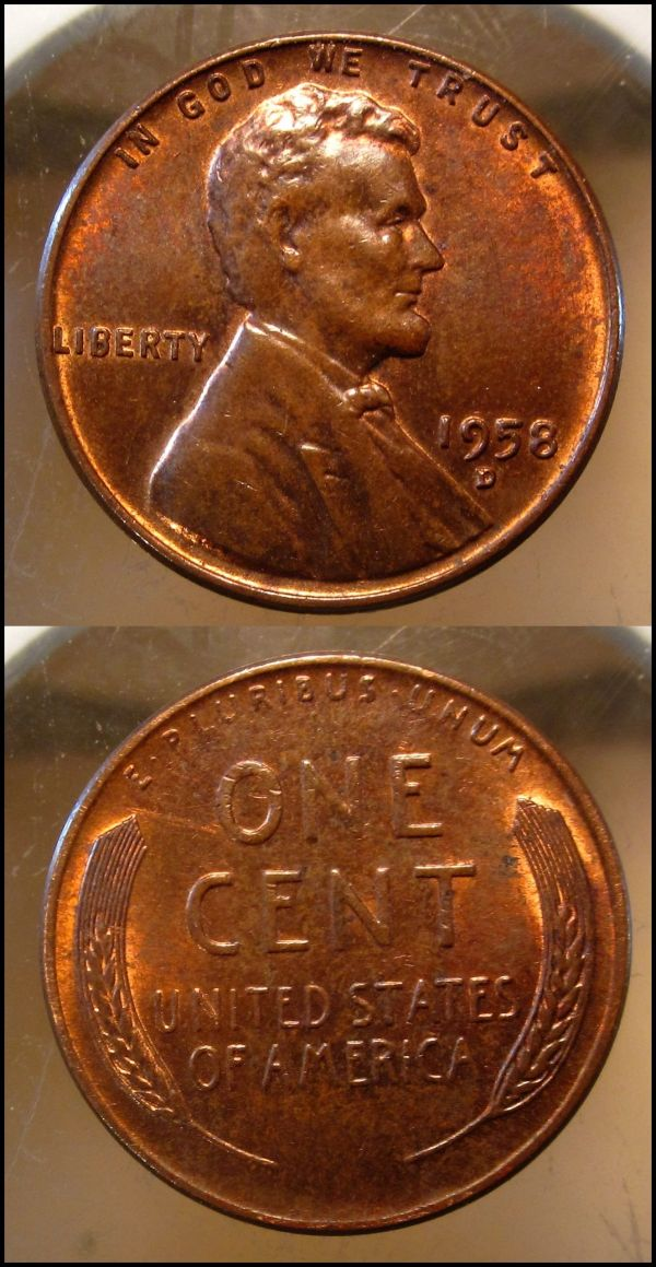 1958 Lincoln Wheat Penny - Year of Clean Water