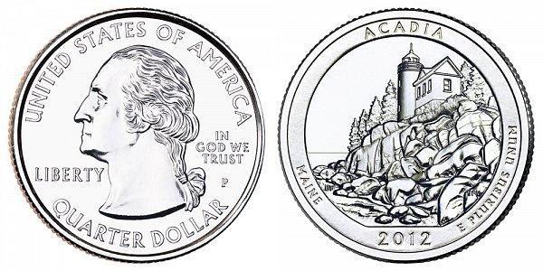 2012 P Acadia Quarter Coin Value Prices, Photos & Info