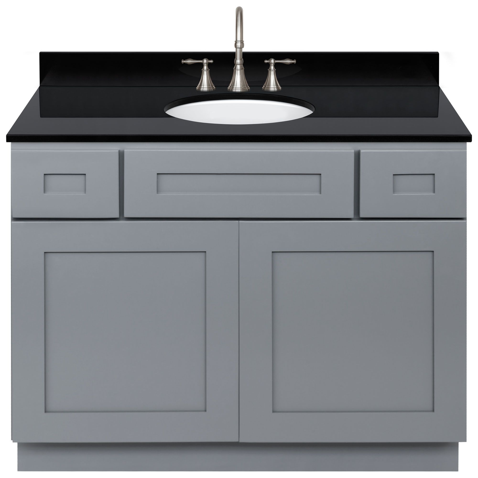 Lesscare Colonial Gray 43w Vanity With Absolute Black Granite Top And Faucet Vanities With Tops Bathroom Vanities Bath