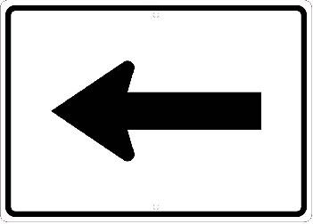 Reflective Aluminum Auxiliary Arrow Left Sign, Arrow Signs