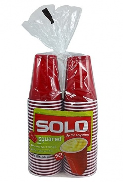 Solo Party Cups Red 18oz Red 50 Counts Square Base