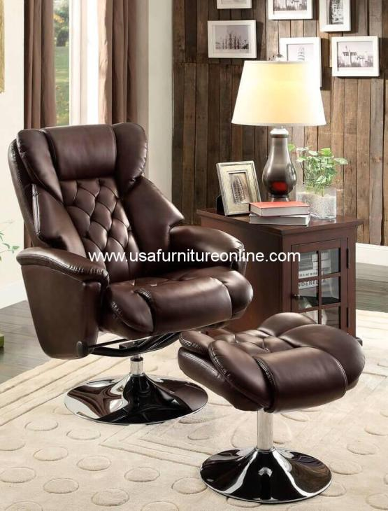 Swivel Recliner With Ottoman Set 8548