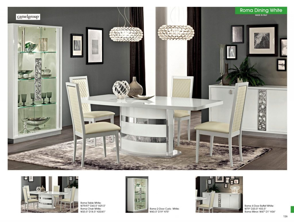Roma White Modern Dining Set Made In Italy USA Furniture