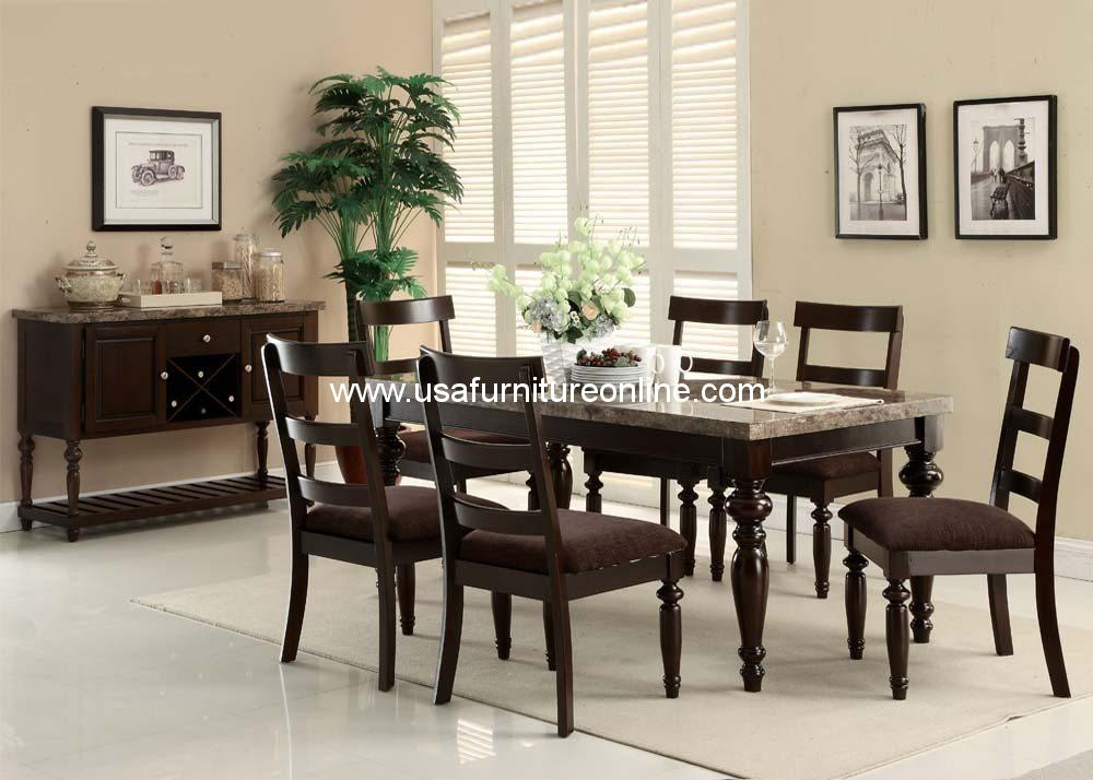 9 Piece Bandele Gray Marble Top Dining Set