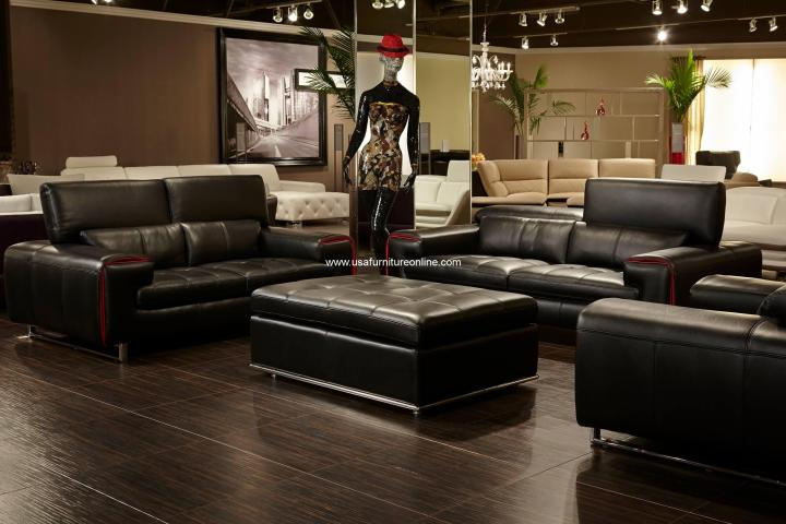 Magrena Black Leather Sofa Set With Red Trim