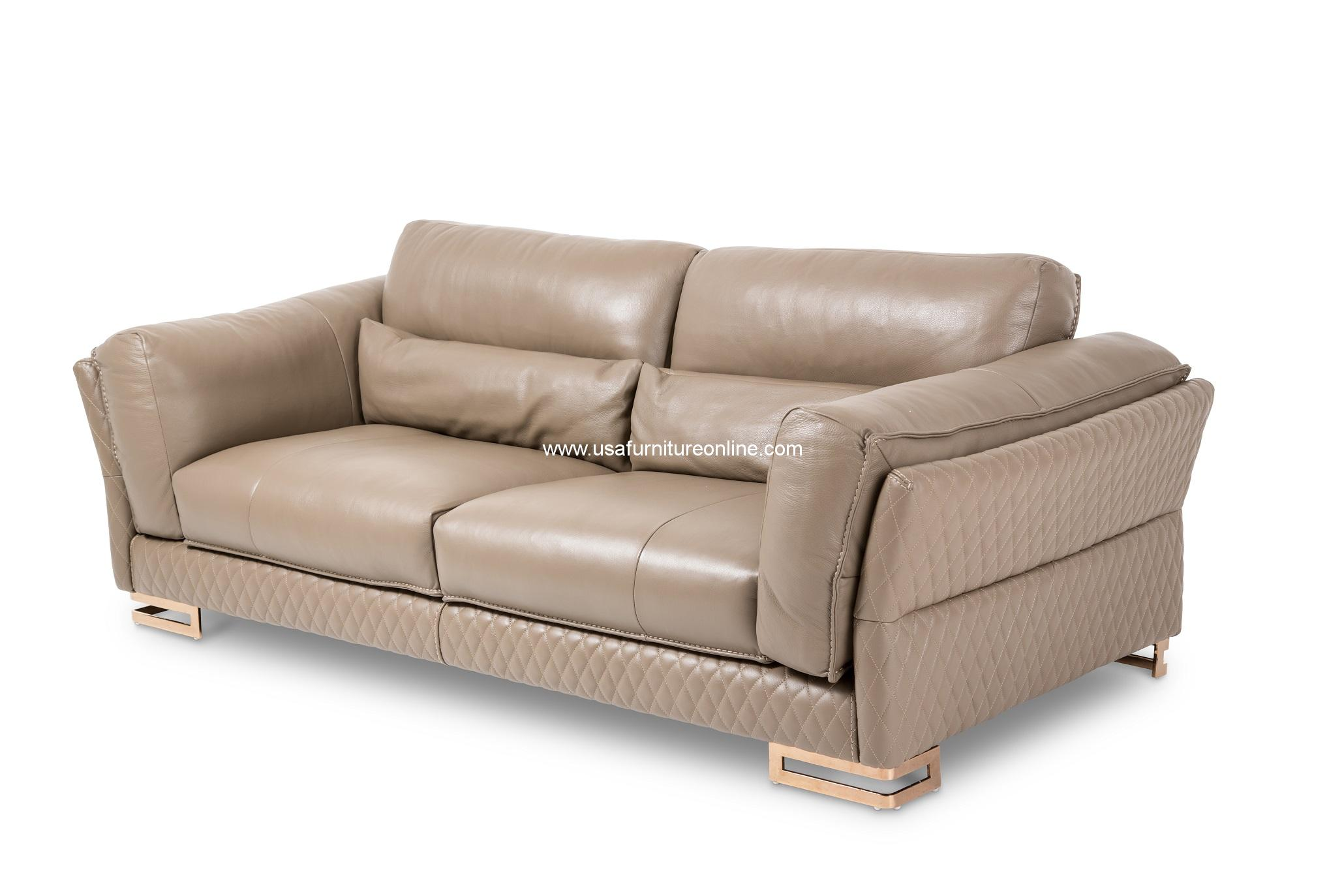 Monica Taupe Leather Sofa