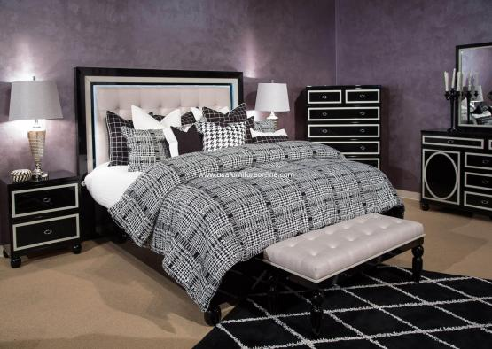 ky Tower Black Ice Modern Bedroom Set