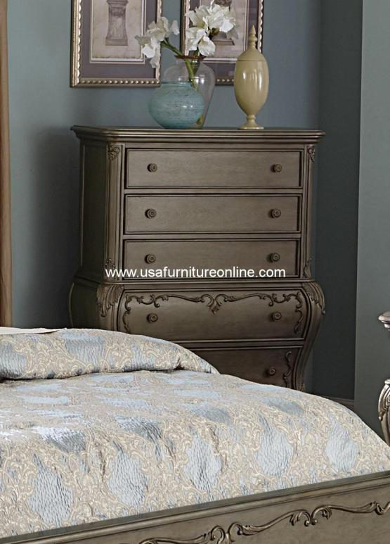 Florentina Four Drawer Chest with gold undertone