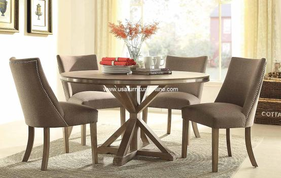 5 Piece Beaugrand Round Modern Homelegance Dining Set