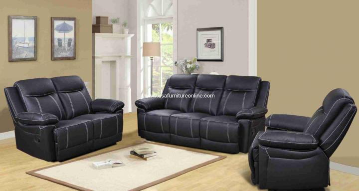 Marix Black Genuine Leather Reclining Sofa Set