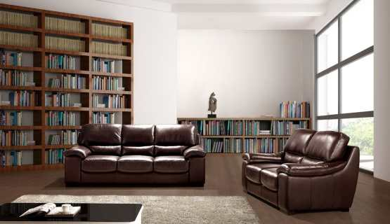 Luxor Italian Dark Chocolate Leather Sofa Set