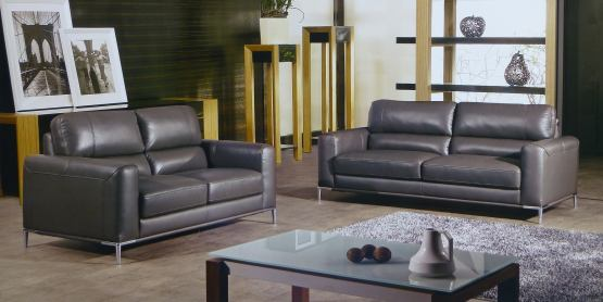 Respiro Italian Taupe Leather Sofa Set