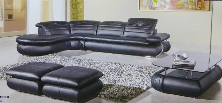Fashion Black Leather Sectional