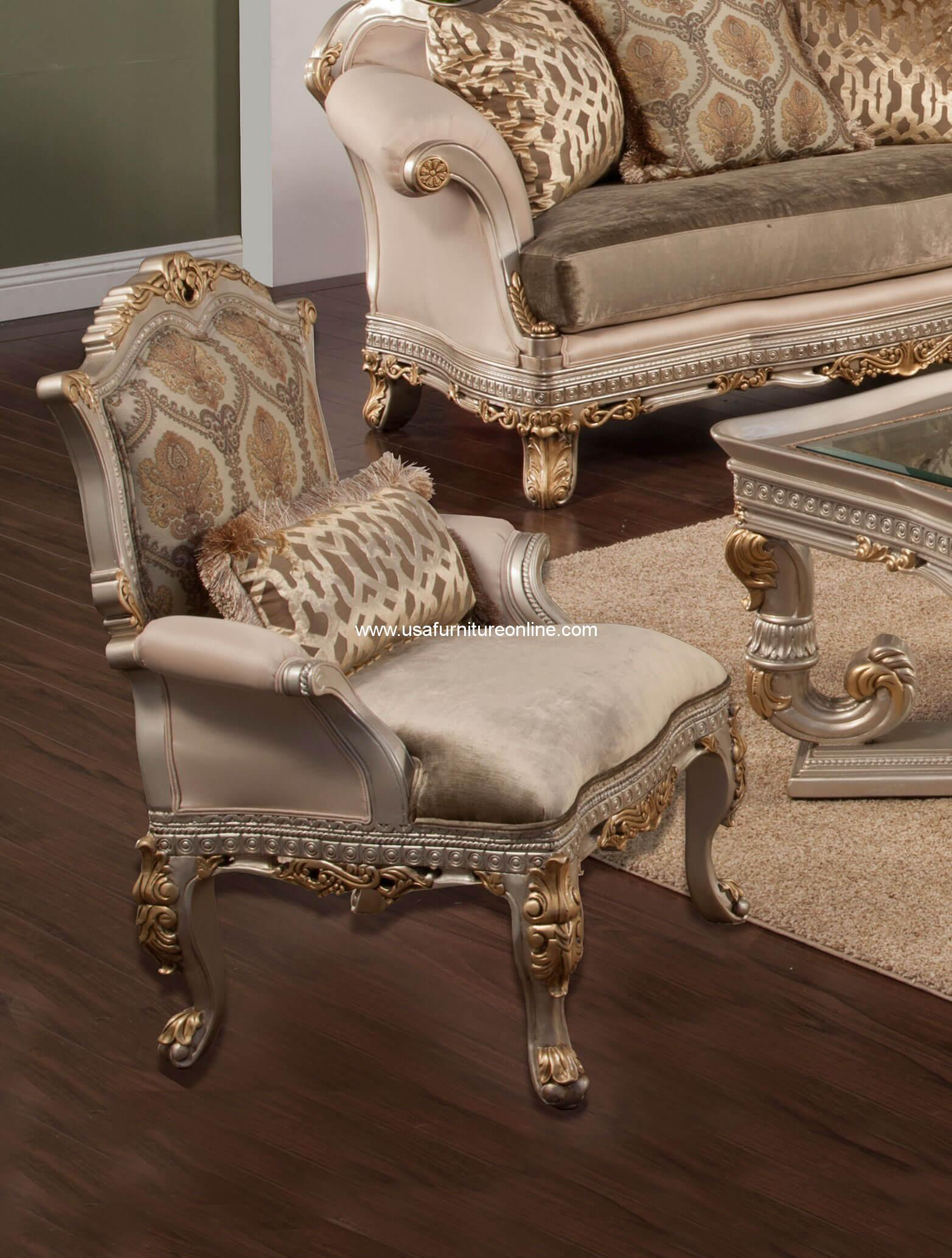 silver accent chair master gym reviews ornella wood trim in gold finish usa