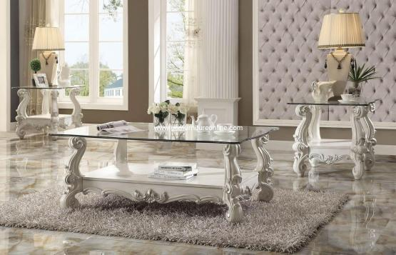 Versailles Glass Top Coffee Table Set