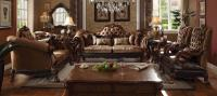 ACME 2 PIECE WOOD TRIM GOLDEN BROWN VELVET LIVING ROOM SET ...