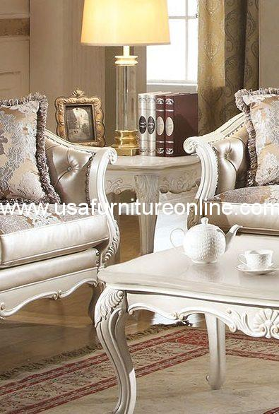 Chantelle End Table Marble Top Pearl