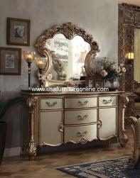 Vendome Buffet & Mirror Gold Patina Finish