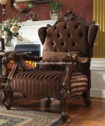 Versailles Accent Chair Brown Velvet Fabric