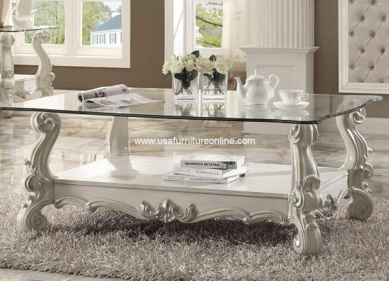3 Piece Acme Versailles Glass Top Coffee Table Set Cherry