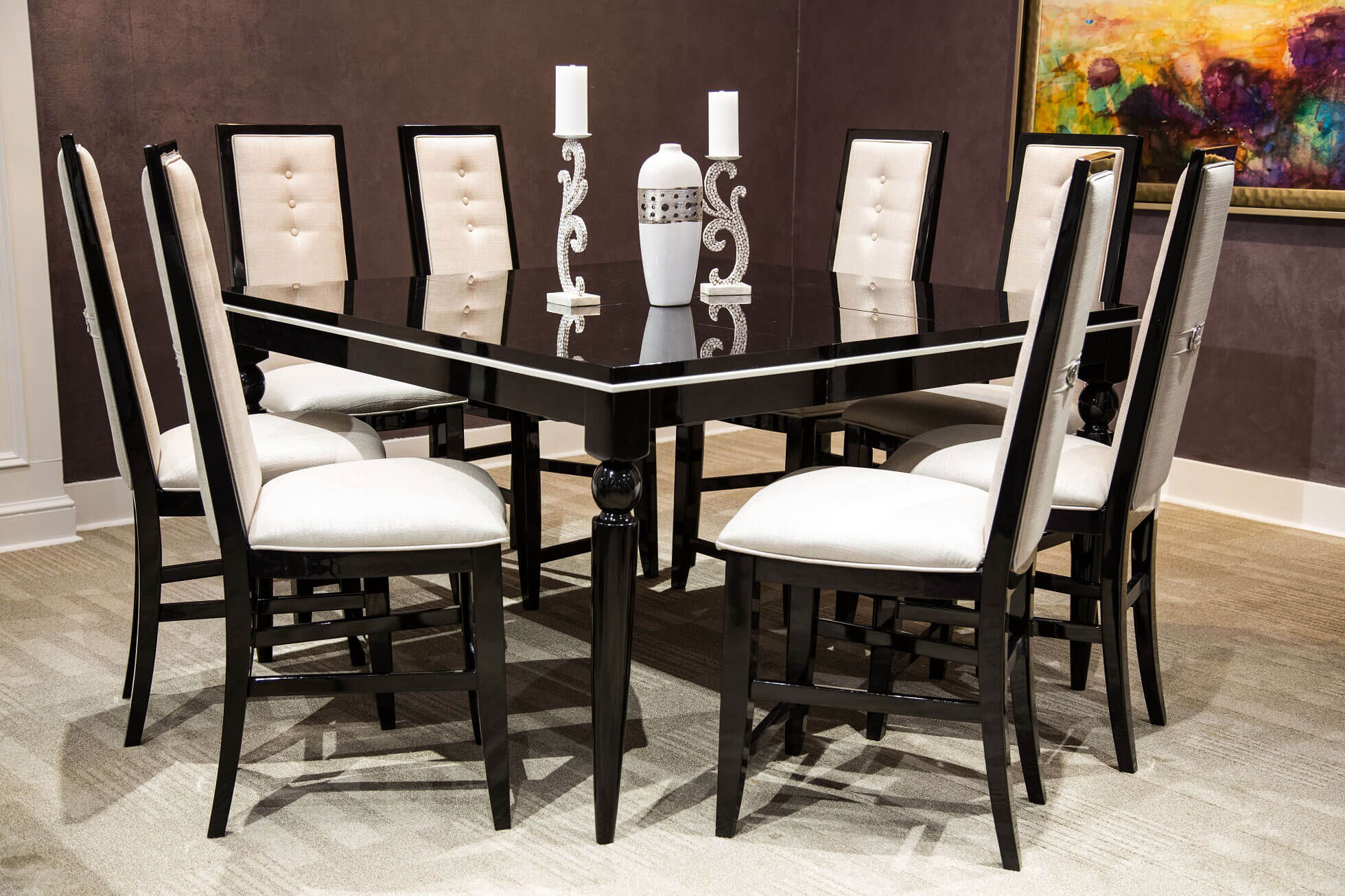 Sky Tower Black Ice Gathering Dining Set & Sky Tower Black Ice Gathering Dining Set AICO-9025606-805 u2022 USA ...