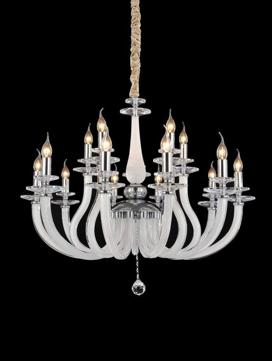 15 Light San Marco Chandelier Opalescent Glass & Chrome Finish